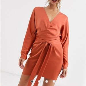 ASOS DESIGN wrap waist mini dress in satin